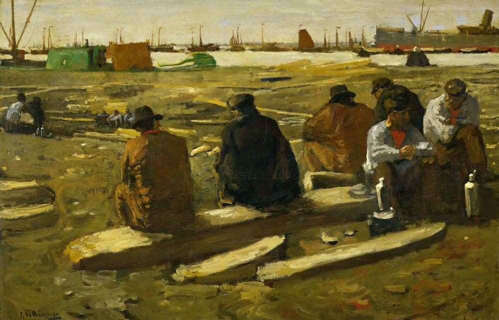 Schafttijd in de bouwput aan de Van Diemenstraat in Amsterdam, George Hendrik Breitner, ca. 1897