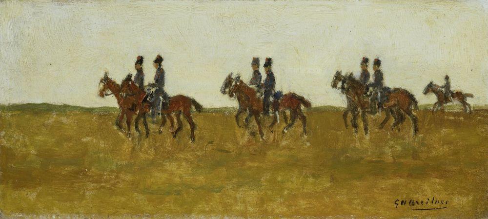 Huzaren in het open veld, George Hendrik Breitner, tussen 1880 - 1923