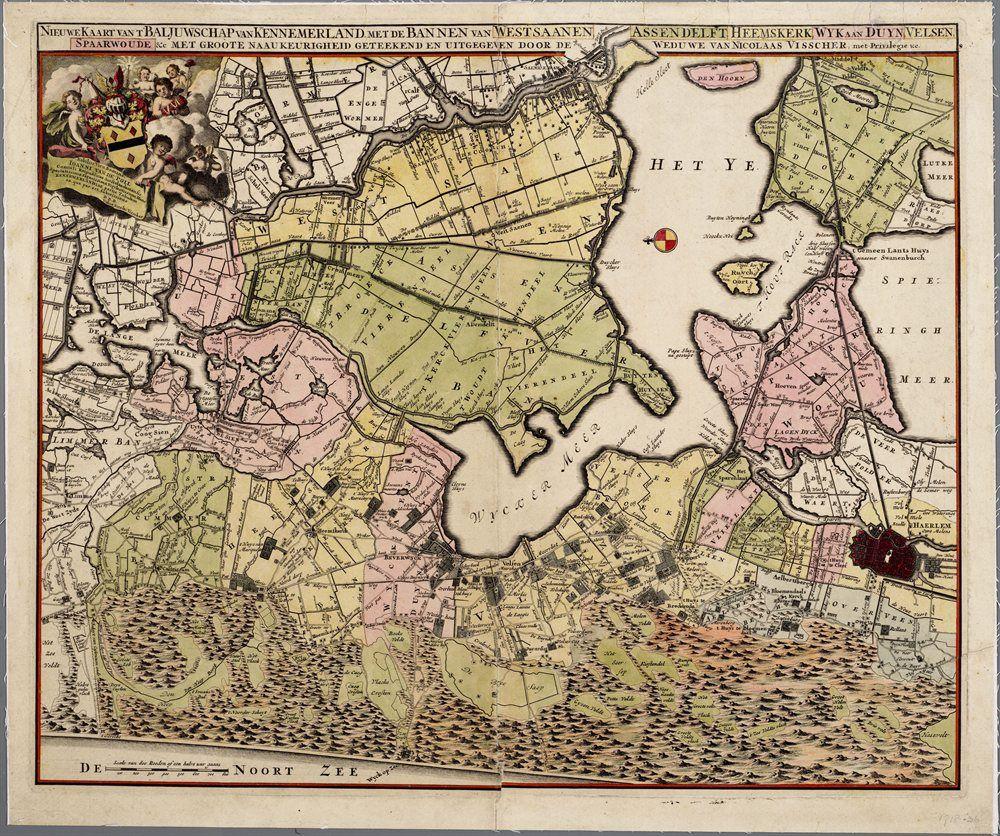 Kaart van het Baljuwschap van Kennemerland, met IJ, Wijkermeer en Crommenije.