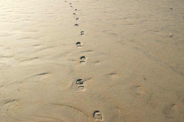 Wandelen op de brede zandvlakte De Hors op Texel.
