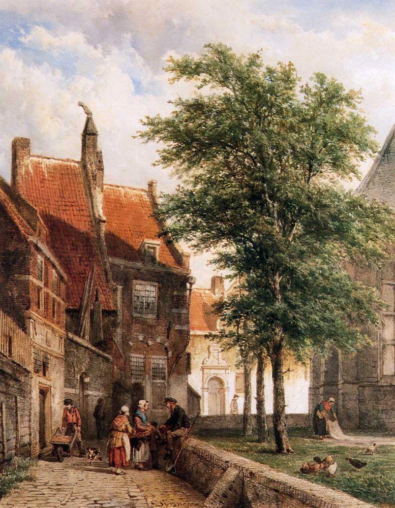 Cornelis Springer, Zicht achter Grote Kerk in Naarden.