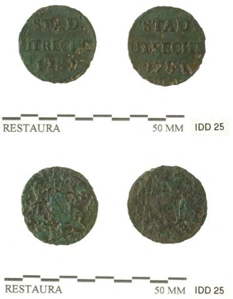 Twee koperen Utrechtse duiten uit 1783.