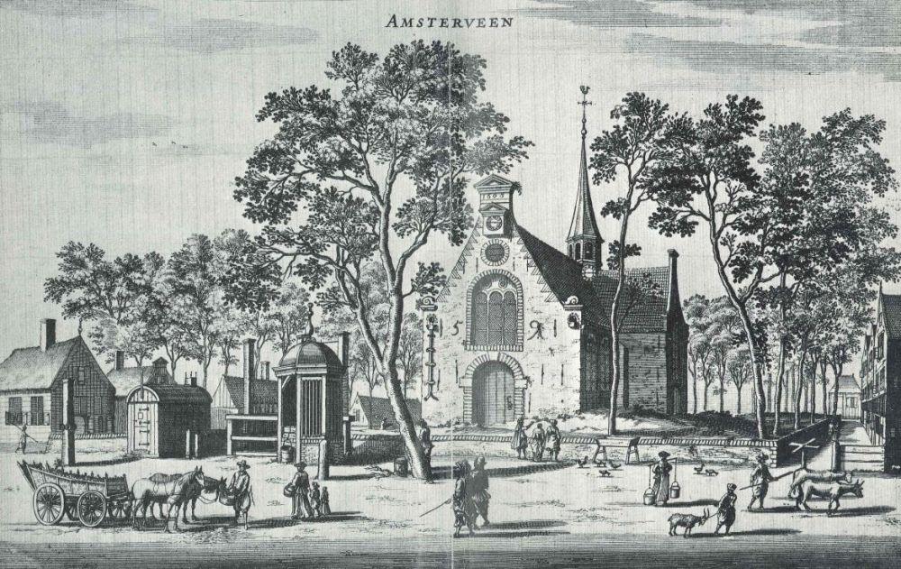 Tekening Dorpsplein uit 1663.