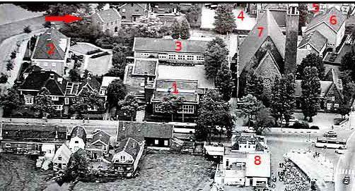 Luchtfoto van de kruising Amsterdamseweg en Parklaan uit 1960.
