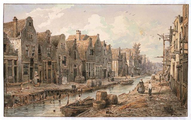 W.Hekking jr.: De Goudsbloemgracht gezien vanaf de Lijnbaansgracht, ca 1850.