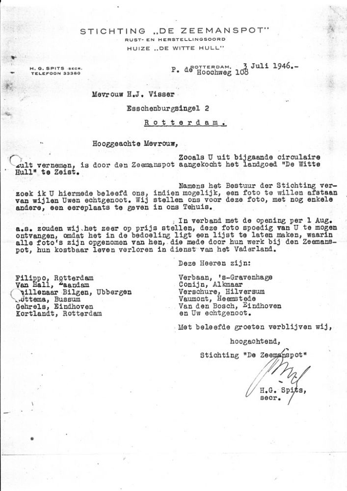 Een brief aan de weduwe van Herman Johan Visser - Foto: Collectie Familiearchief Scholte-Visser