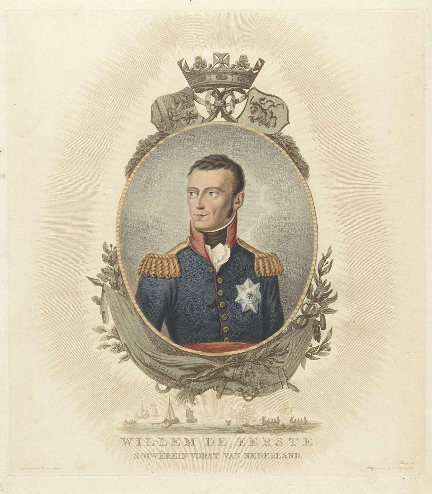 Portret van Willem I Frederik (koning der Nederlanden), Willem van Senus, 1814-1843
