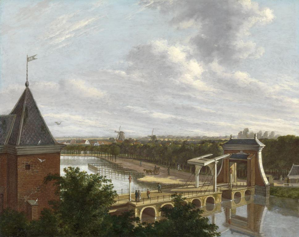 De Amsterdamse buitensingel bij de Leidsepoort, gezien vanuit de schouwburg, Johannes Jelgerhuis, 1813
