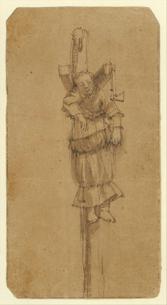 Elsje Christiaens aan de Galg op de Volewijck, bij zich heeft ze de bijl waarmee ze haar hospita doodsloeg, 1664