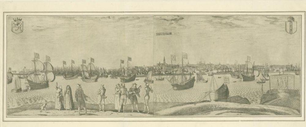 Gezicht op Amsterdam, vanuit het IJ met rechts het galgenveld