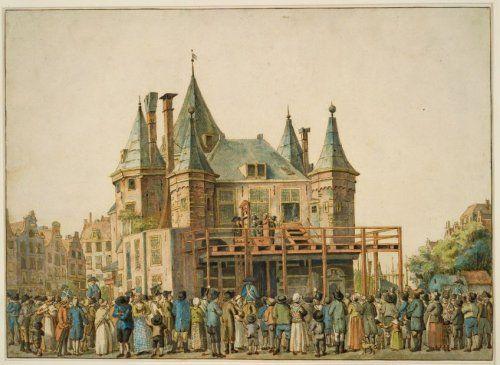 Hester Rebekka Nepping en Adriana van Rijswijk op de stellage bij de guillotine, 15 juni 1812