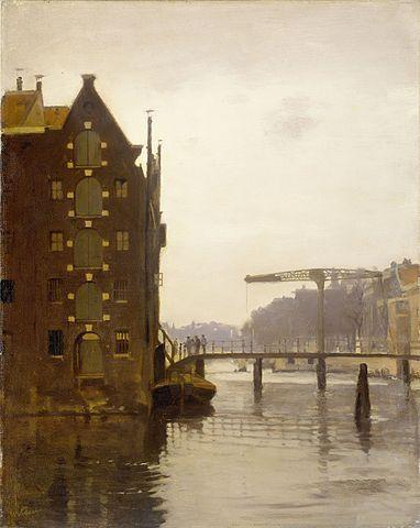 Pakhuizen aan een Amsterdamse Gracht op Uilenburg, Willem Witsen
