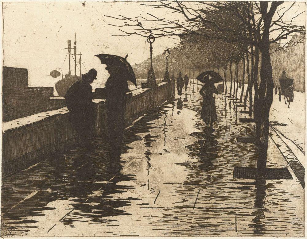 Regen, Thames Embankment, London, 1890, Willem Witsen