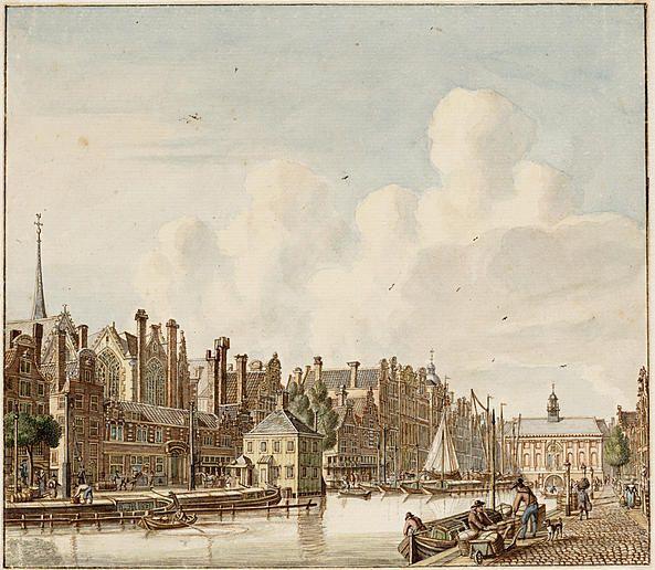 Het ongedempte Rokin, tekening door Jan de Beijer, voor 1765
