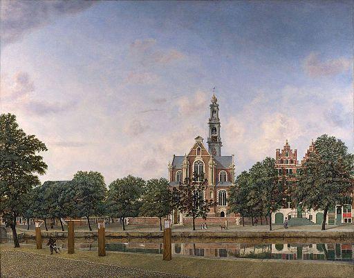De door Hendrick de Keyser ontworpen Westerkerk, geschilderd door Jan van der Heyden (1660)