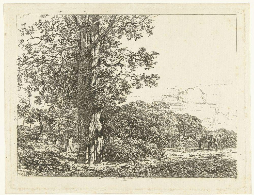 Landschap met grote beukeboom en ruiter in gesprek met man