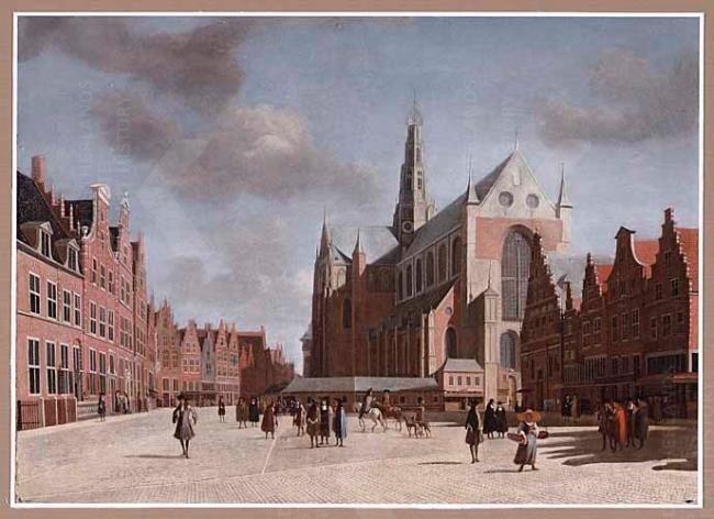 Gerrit Adriaensz. Berckheyde,  De Grote Markt in Haarlem met de Grote of Sint-Bavokerk (1696 - 1724)