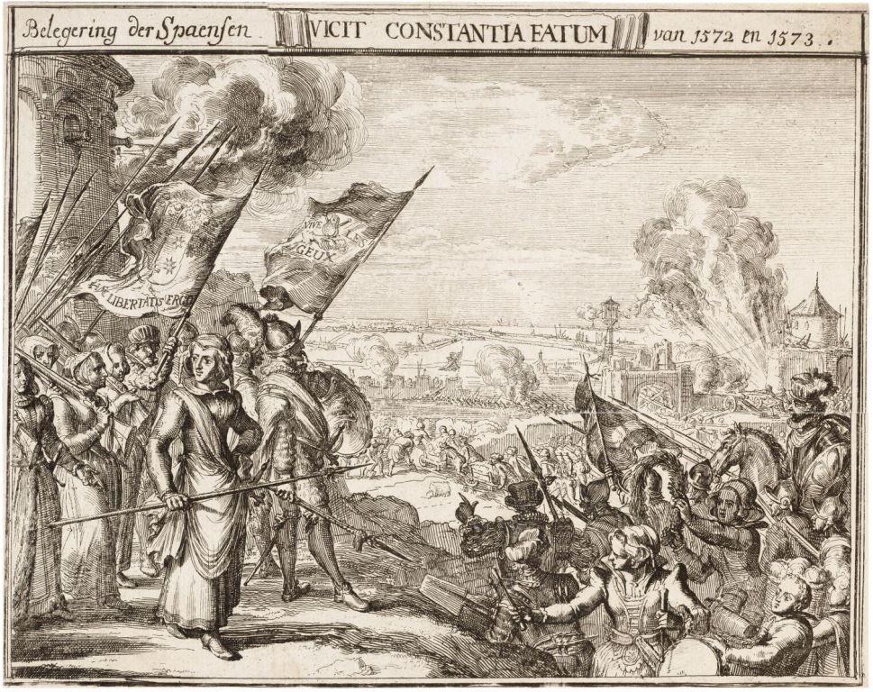 Kenau Simonsdochter Hasselaer met haar vrouwenleger bij de verdediging van Haarlem tussen 1572 en 1573