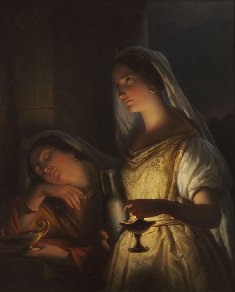 Jan Adam Kruseman, De wijze en de dwaze maagd, 1848.
