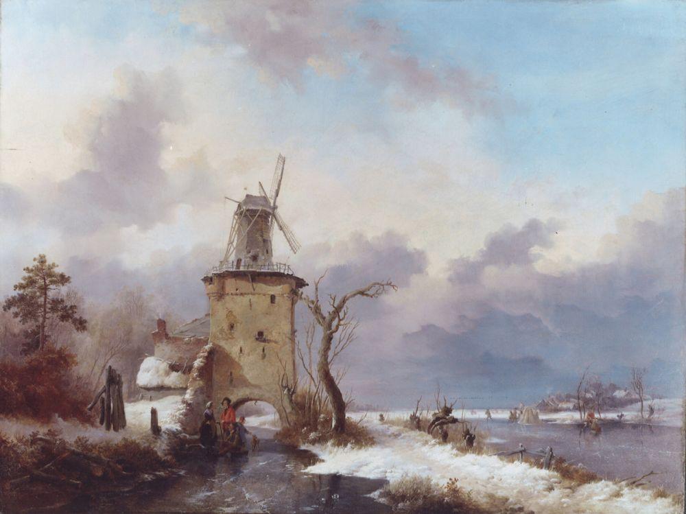 Frederik Marinus Kruseman, Winterlandschap met watermolen bij Vilvoorde, 1844