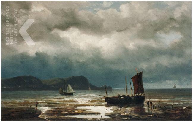 Jan Theodoor Kruseman, Kustgezicht met vissers, 1850-1895