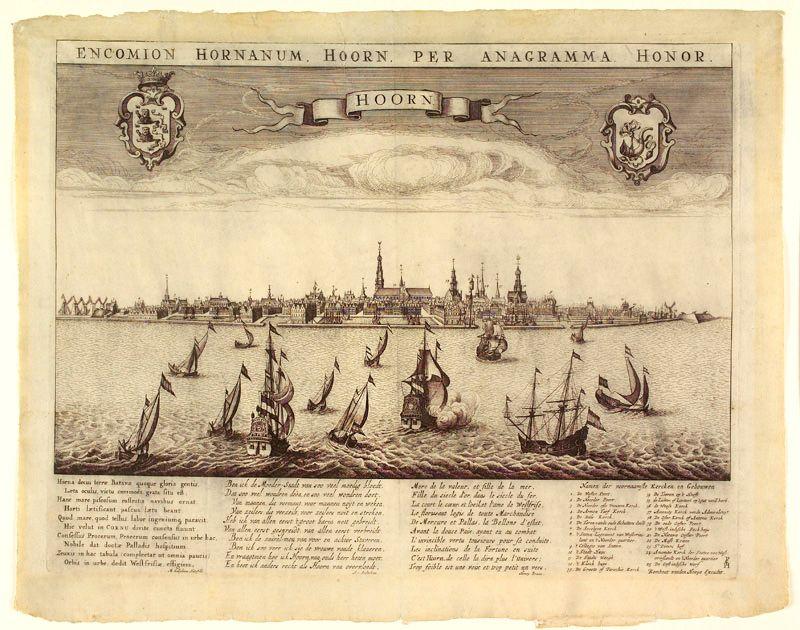 Scheepvaart op de rede van Hoorn, met onderschrift in Latijn, Nederlands en Frans, circa 1650