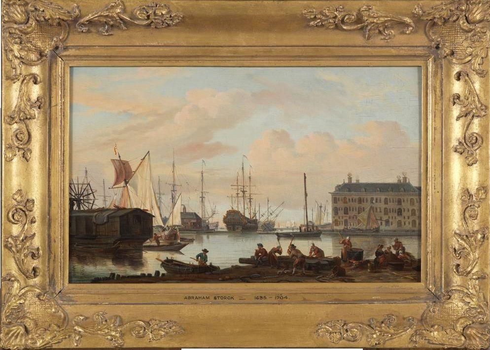 Gezicht op het IJ te Amsterdam, door Abraham Storck, 1675.