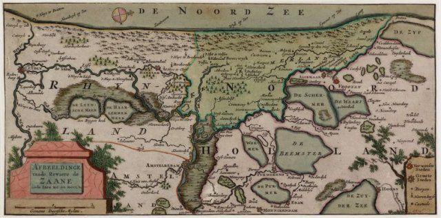 Afbeelding van de rivier de Zaan in de jaren 1100 - 1250