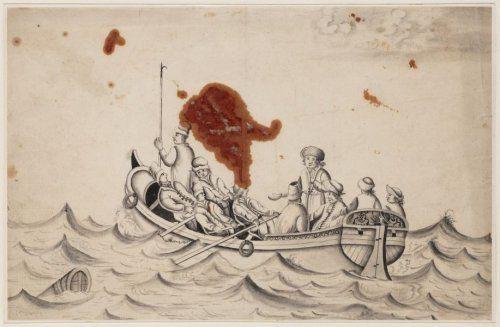 Czaar Peter de Grote in een sloep op het IJ
