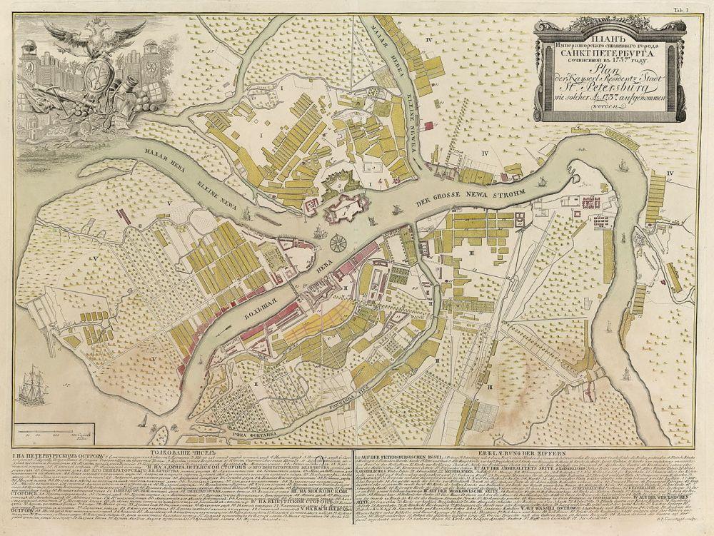 Kaart van St. Petersburg uit 1737
