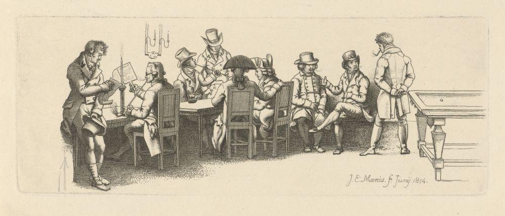 Mannen in een koffiehuis met een biljart