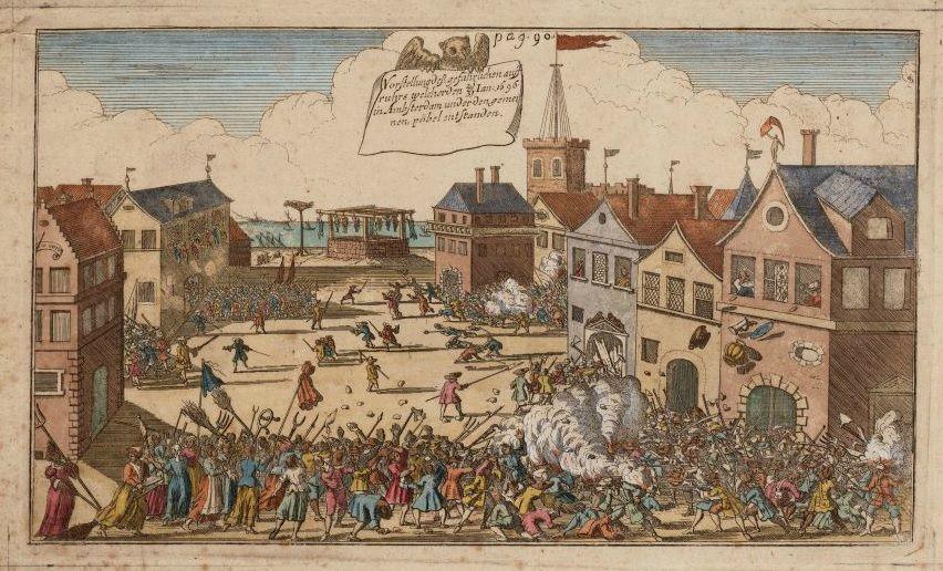 Amsterdam tijdens Aansprekers oproer, 1696