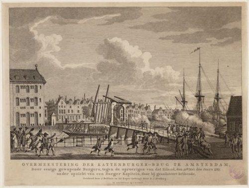 Overmeestering der Kattenburgerbrug te Amsterdam