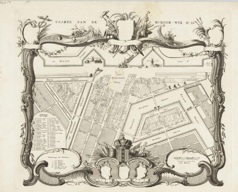 Kaart van Burgerwijk 54 op schaal ca. 1:1.700, opgemeten en getekend door Jan Meyer