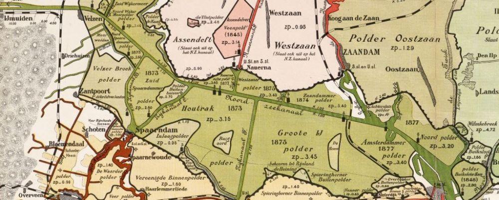 Kaart van het ingepolderde gebied rond het Noordzeekanaal, omstreeks 1910