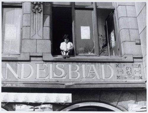 Krakers in het gebouw van het voormalig Handelsblad