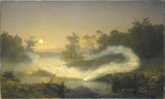 Dansende elfen op een meer, August Malström, 1866