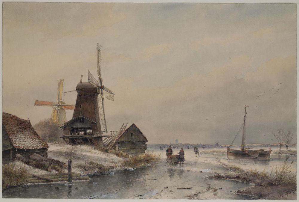 IJsgezicht met twee molens, 1865.