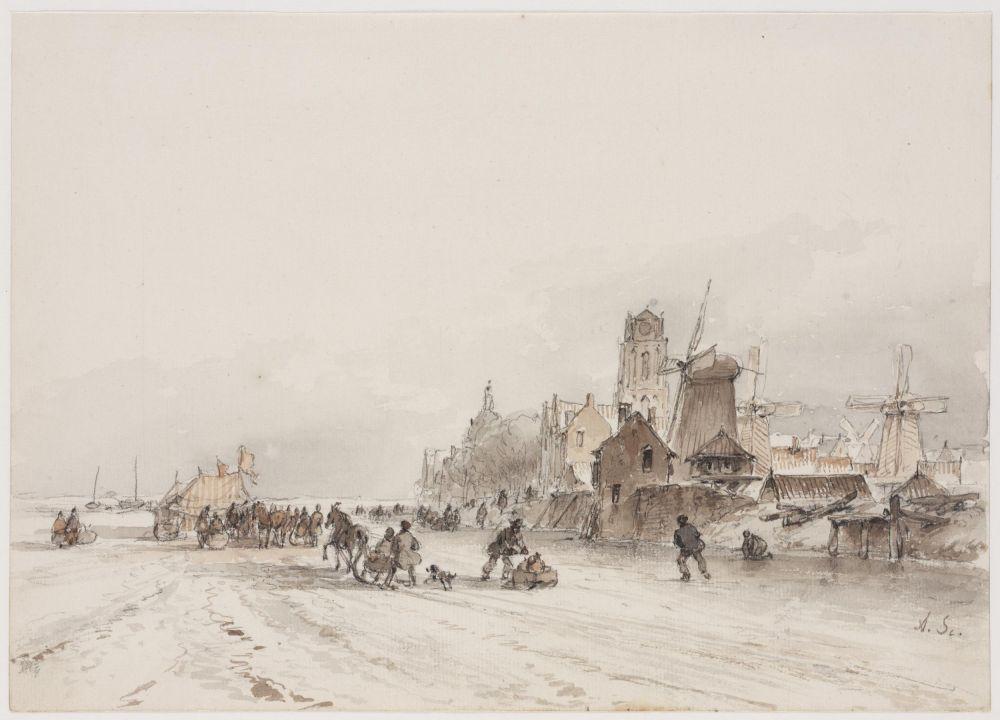IJsgezicht bij een stad, 1861.