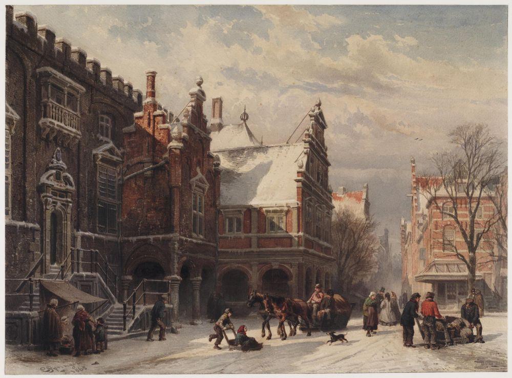 Het stadhuis van Haarlem bij winter, 1865.