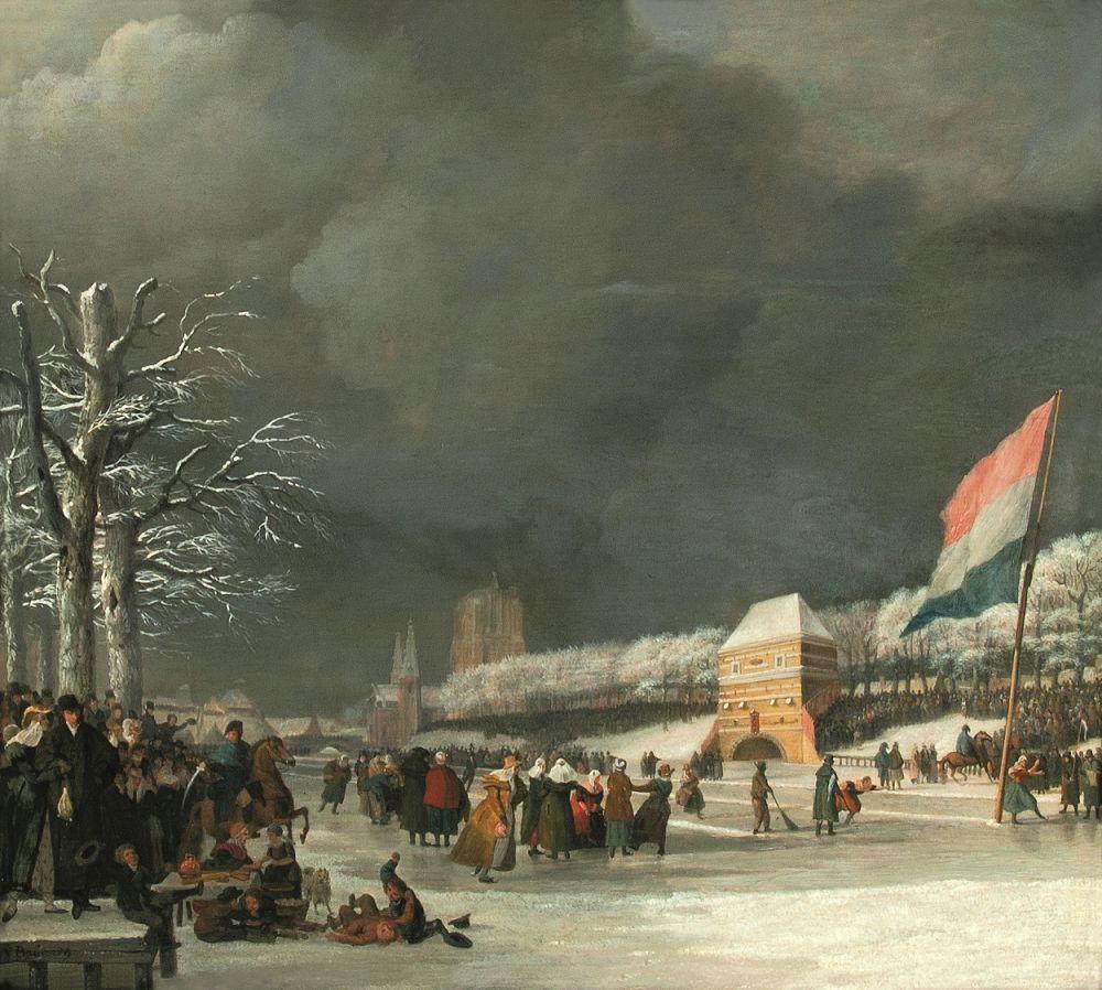 Schaatswedstrijd voor vrouwen op de Westersingel in Leeuwarden, 21 januari 1809.