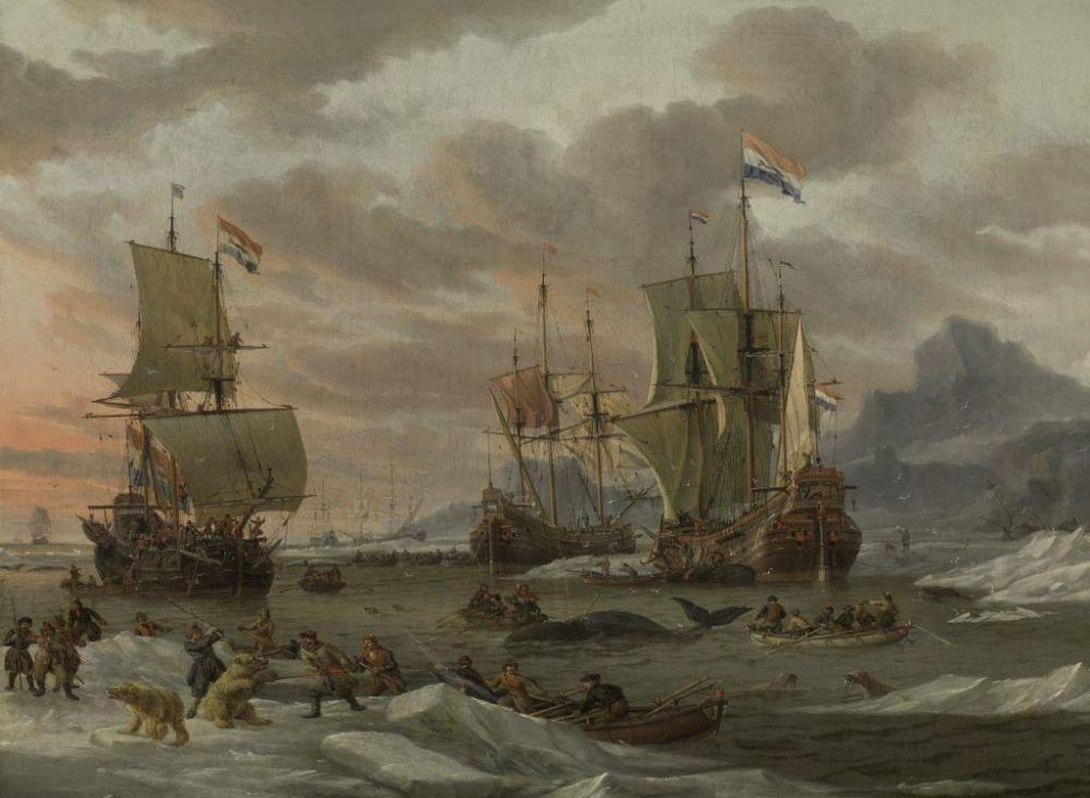 Walvisvangst in de Poolzee, Abraham Storck, 1654 - 1708