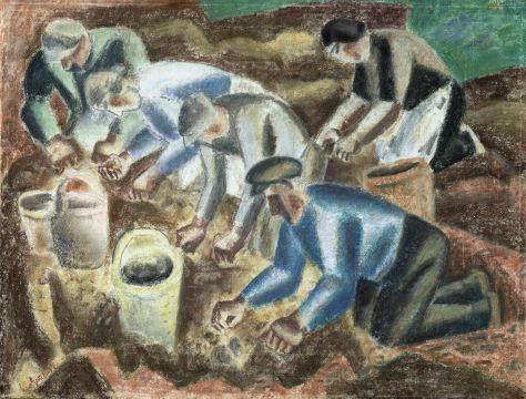 Aardappelrooiende boeren