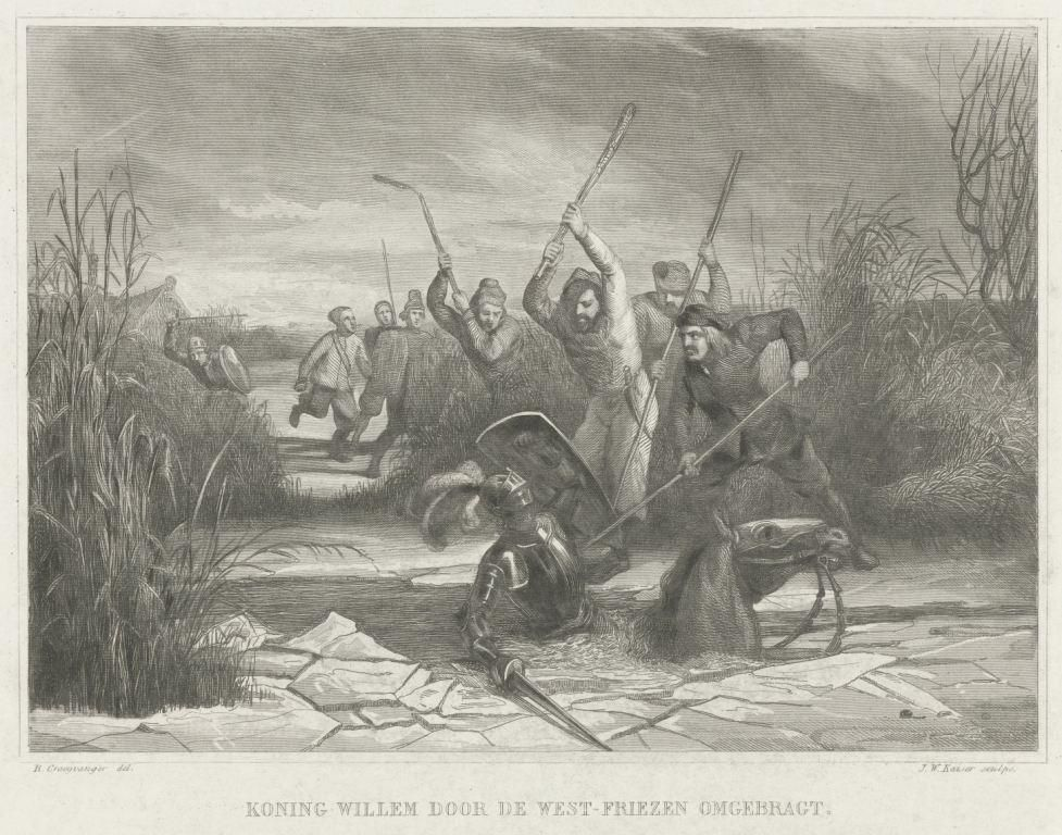 Graaf Willem II zakt door het ijs bij Hoogwoud, 1256.