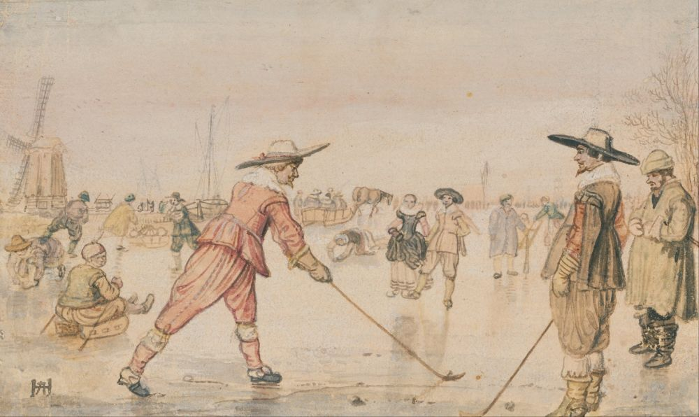 Twee mannen spelen kolf