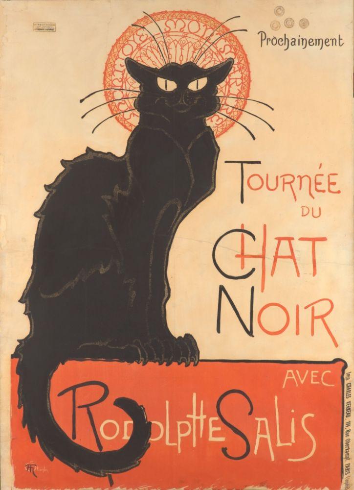 De majestueuze, inktzwarte kater van Le Chat Noir, ontworpen door Théophile Steinlen, zou een icoon worden voor het bruisende nachtleven van het 19e eeuwse Parijs