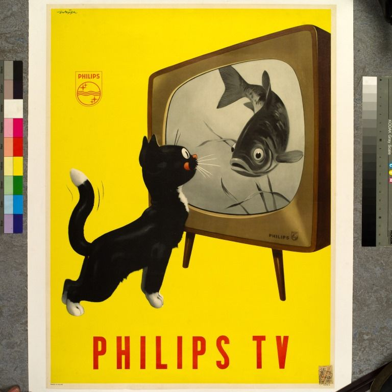 De kat in de reclame, hier voor Philips tv's (ontwerp Jan Wijga, 1951)