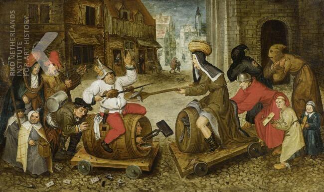 De strijd tussen carnaval en vasten, vroege zeventiende eeuw, Pieter Bruegel. Beeld: RKD