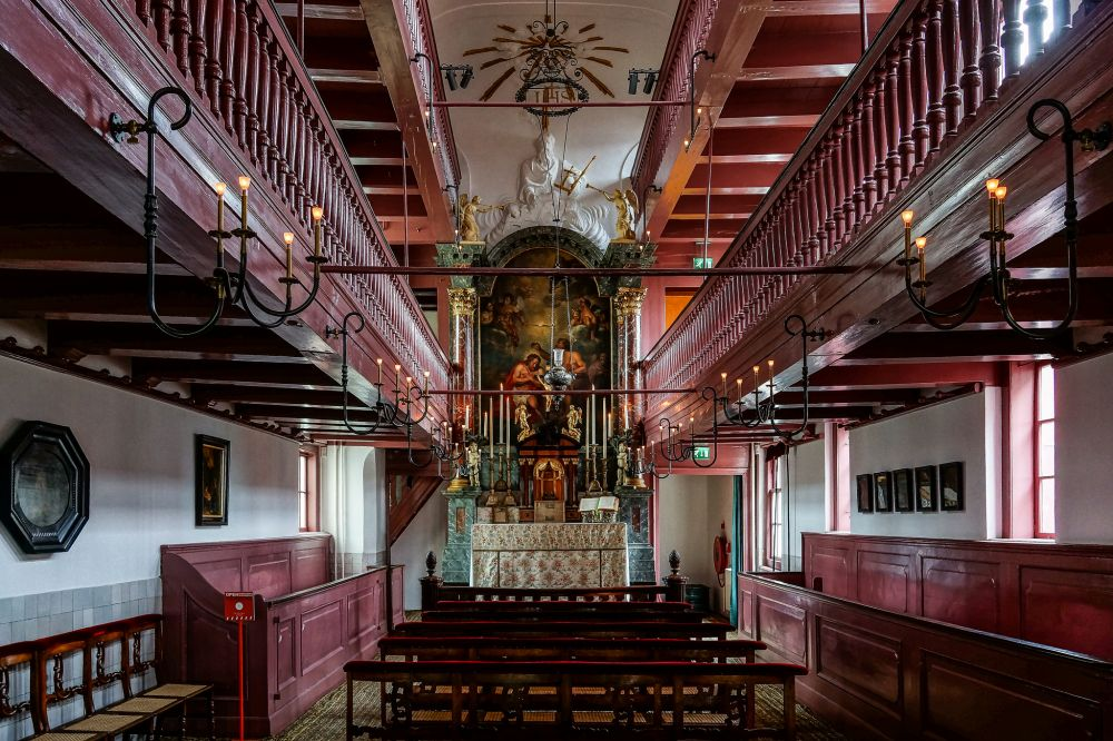 Interieur van de schuilkerk