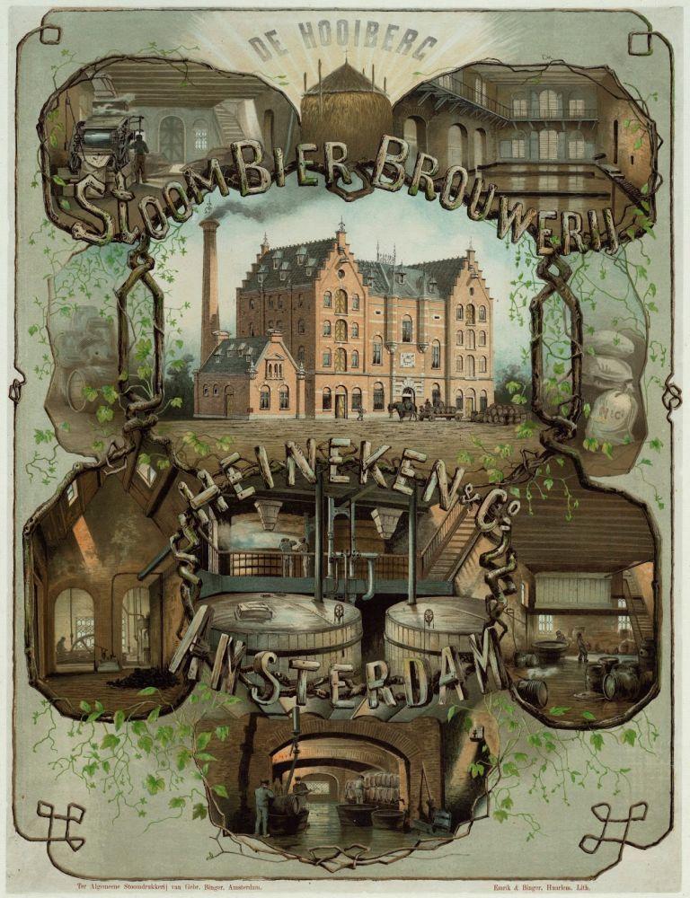 Affiche van de stoombierbrouwerij Heineken en Co. Beeld: Stadsarchief Amsterdam